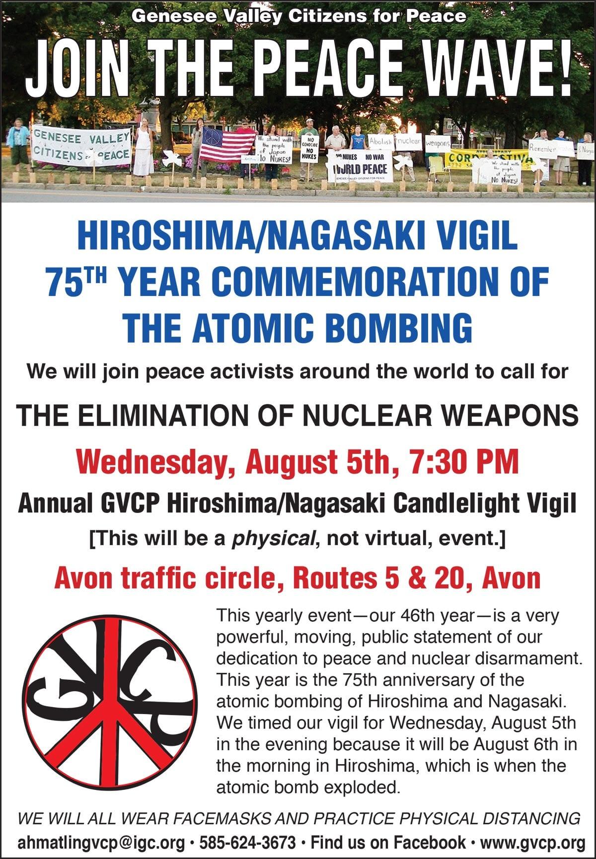GVCP LCN Ad about Hiroshima and Nagasaki remembrance vigil